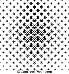 Seamless monochrome stylized flower pattern vector...
