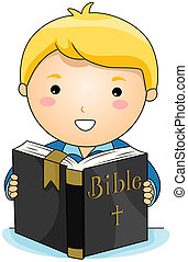 Reading Bible - Boy reading Bible with Clipping Path