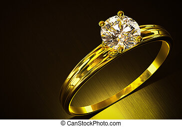 Gold ring with diamond.