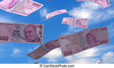 Falling Turkish Lira seamless and alpha
