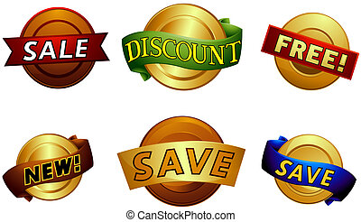 Badges and Labels Set with Clipping Path