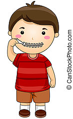 Silence - Boy zipping mouth with Clipping Path