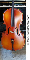 Cello panoramic view - Panoramic view of a cello standing...