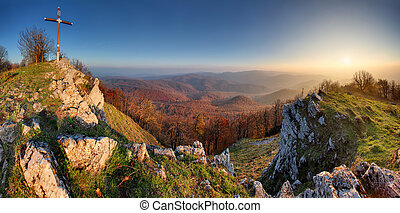 Autumn mountain panorama in Small Karpaty