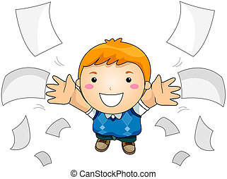 Throwing Papers - Boy Throwing Papers with Clipping Path