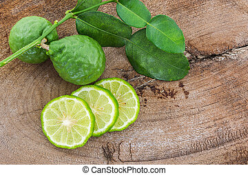 Kaffir Lime Bergamot - Kaffir Lime Bergamot on wood...