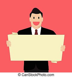 Businessman holding white board Vector Illustration