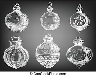 Christmas baubles - Set of 6 hand drawn Christmas baubles on...