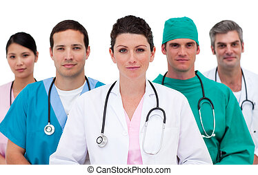 Portrait of a pensive medical team against a white...