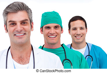 Portrait of a men\'s medical team against a white background