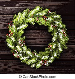 Card with Christmas wreath. - Wooden card with Christmas...