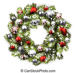 Card with Christmas wreath. - White card with Christmas...