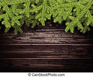 Wooden background. - Wooden background with fir branches....