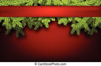Card with fir branches - Red card with fir branches paper...