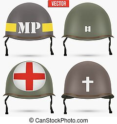 Set of Military US helmet M1 WWII - Set of Military US green...