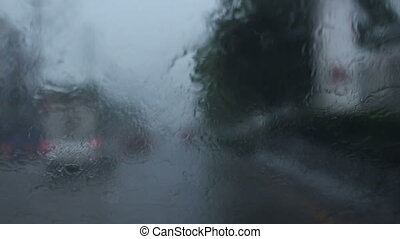 driving car in raining