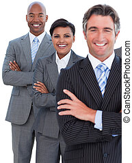Portrait of enthusiastic business team against a white...