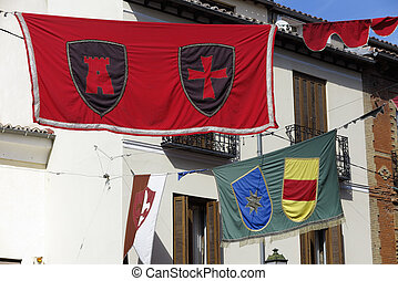 medieval banners at the streets of Alcala de Henares,Spain,...