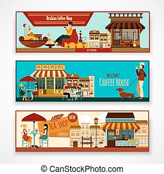 Shops Banner Set - Shops and cafe facades horizontal banner...