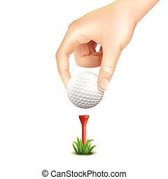 Golf Ball Realistic Background - Hand putting a golf ball on...