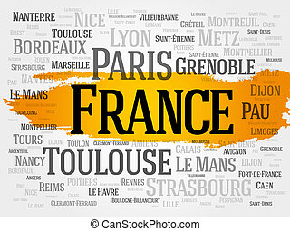 List of cities in France Paris word cloud concept