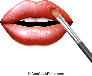 Lips Make Up - Lips make up with bright sparkling lipstick...