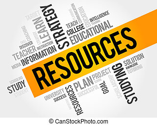 RESOURCES word cloud, education concept