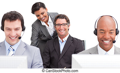 Successful customer agent team working in the office