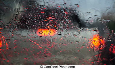 light traffic Rain and car wipers - Video of beautiful...