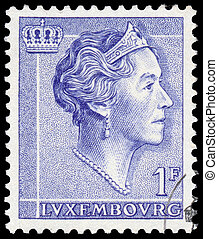 Stamp printed in Luxembourg shows portrait of Grand Duchess...