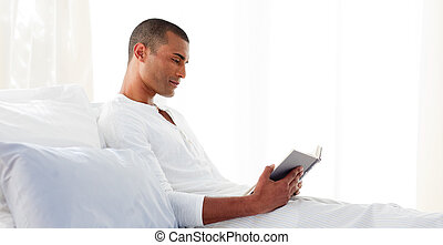 Concentrated man reading lying on his bed - Concentrated...