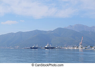 Ship in a Tivat harborn, Montenegro