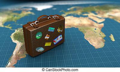 travel luggage - 3d illustration of travel luggage on world...