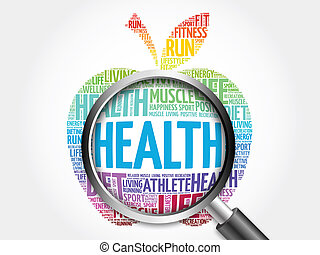 Health word cloud with magnifying glass