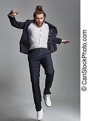 Handsome guy doing an acrobatic - Handsome man doing an...