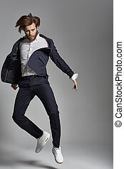 Portrait of the jumping flexible guy - Portrait of the...