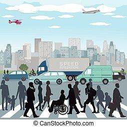 Verkehr in der Stadt.eps - Traffic in the City
