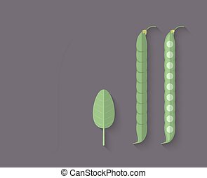 A set of Vegetables in a Flat Style - Leeks, Green Bean;...