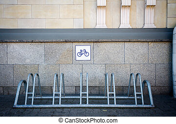 Bike rack by the wall