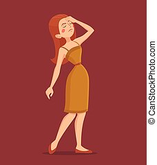 Fatigue Woman Illustration - Fatigue red-haired woman...
