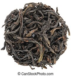 Rou Gui Wuyi Shan roasted oolong round shape isolated above...