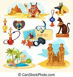 Egypt Touristic Set - Egypt touristic set with cartoon...