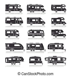 Recreational Vehicle Black Icons - Recreational vehicles for...