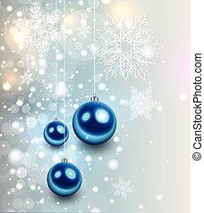 Christmas background with glossy balls and glittering...