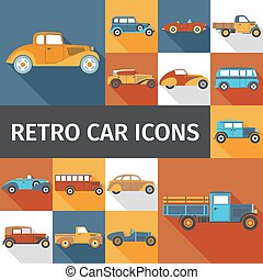 Old Cars Set - Old cars and retro autos flat icons set...