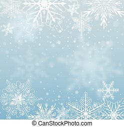 Winter frozen background with snowflakes