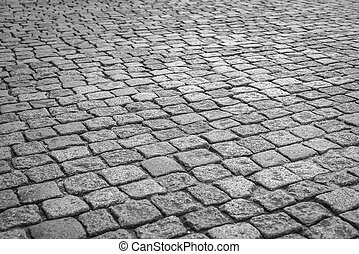 Cobbled road texture - Cobbled road as background Brick...