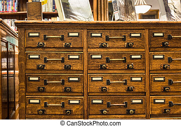 Card Catalog - Vintage wood library card catalog