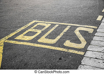 Bus stop sign - Bus stop sign painted on the road