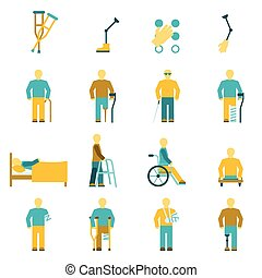 People With Disabilities Icons Set - People with...